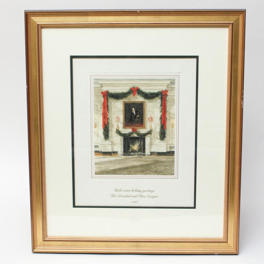 Framed 1987 White House Christmas Card