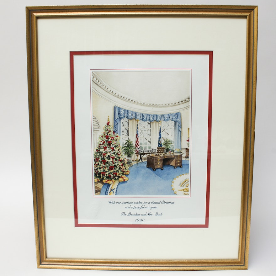 framed 1990 white house christmas card