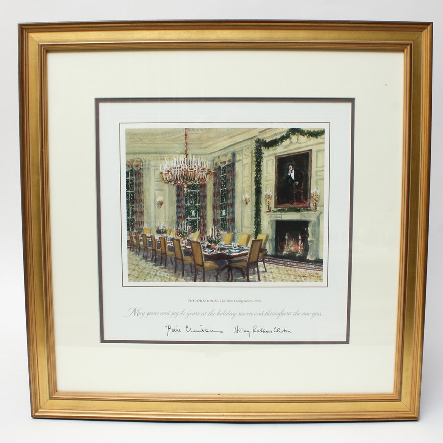Framed and Facsimile Signed 1998 White House Christmas Card : EBTH