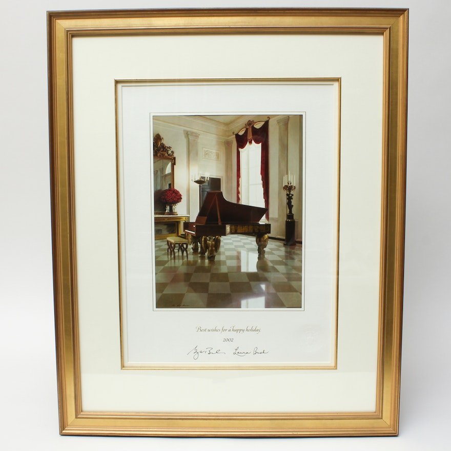 Framed and Facsimile Signed 2002 White House Christmas Card : EBTH