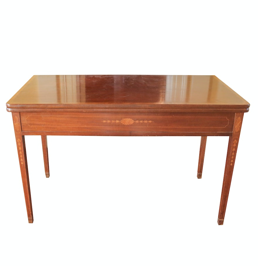 Inlaid Dining Table Vintage Hepplewhite Style Flip Top Dining Table With Inlay Ebth