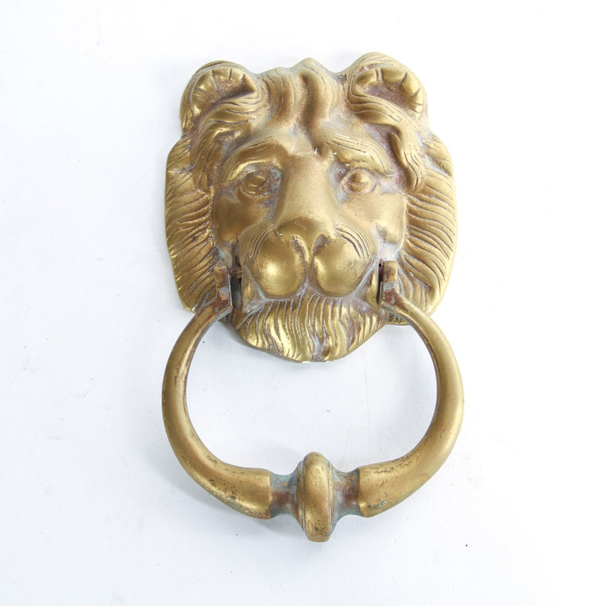 Vintage Brass Lion Head Door Knocker ... - Vintage Brass Lion Head Door Knocker : EBTH