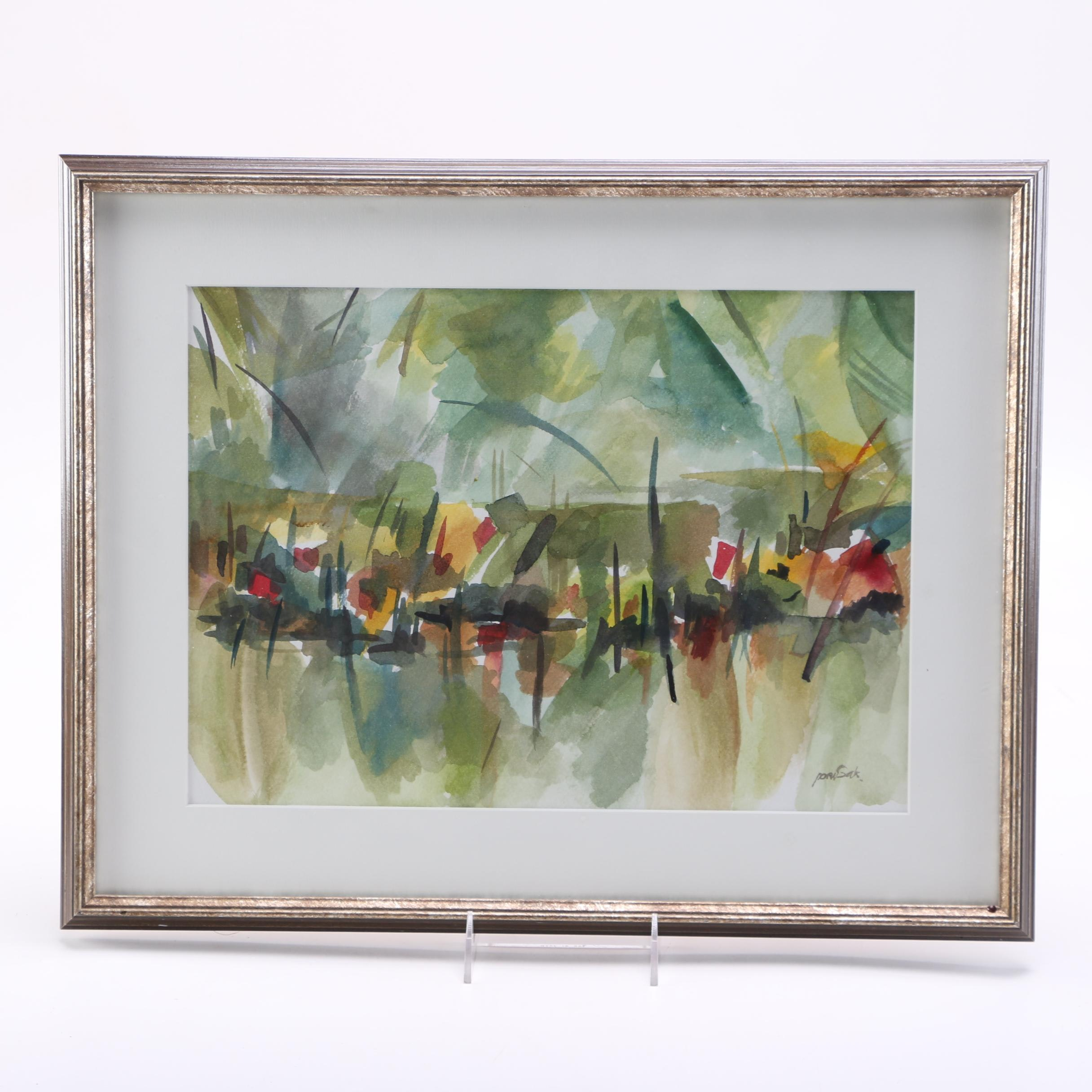 Signed Original Abstract Watercolor