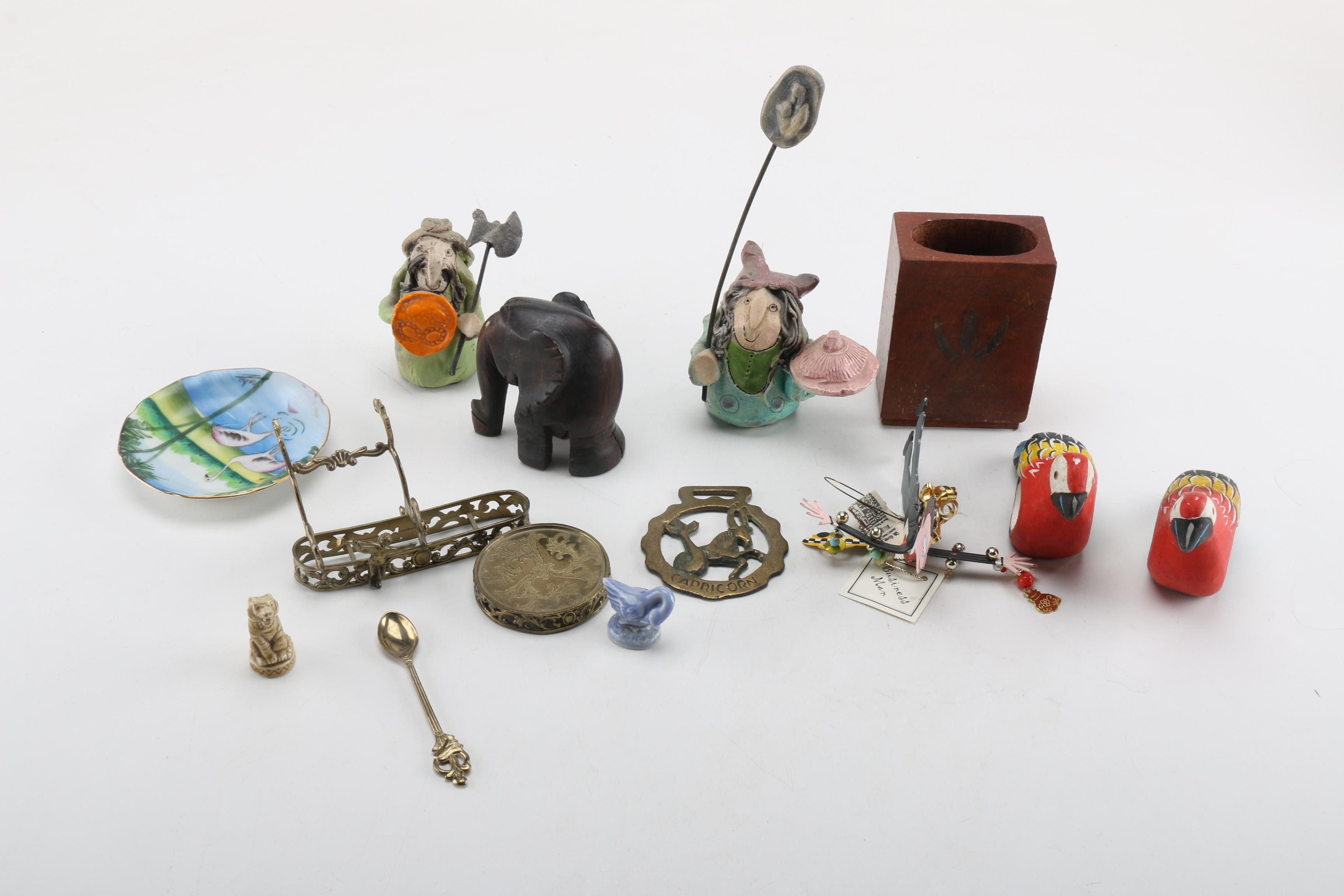 Variety of Metal, Ceramic and Wooden Figural Decor