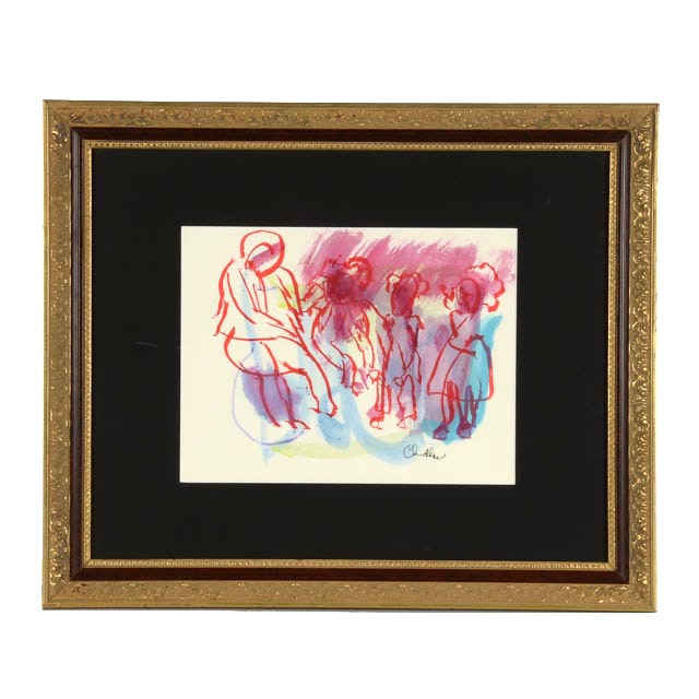 "Paul Chidlaw Original Watercolor Painting ""Red Figures"""