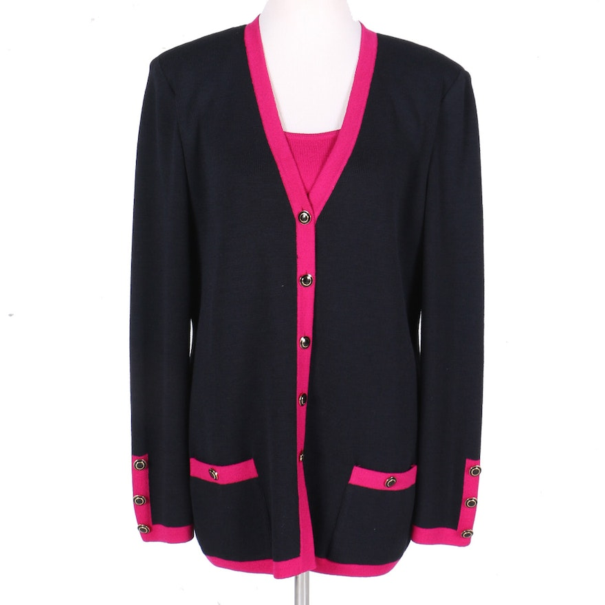 f8380ea8a14ca9 St. John Black and Pink Sweater Set   EBTH