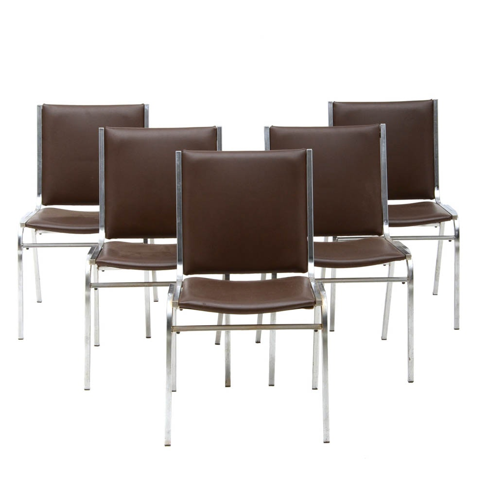 Set of Five Metal Stacking Chairs