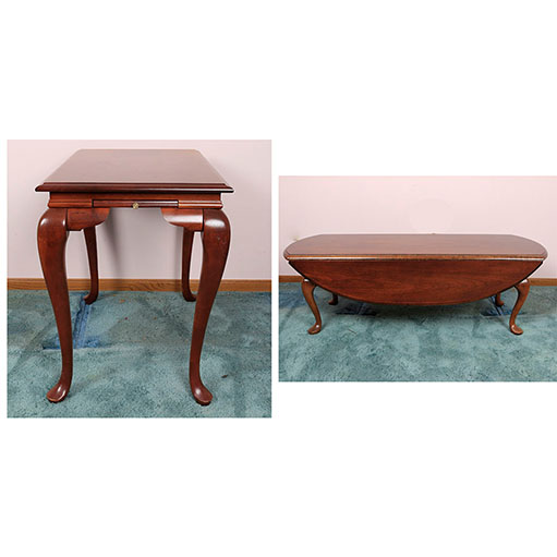 Queen Anne Style DropLeaf Coffee Table and Side TableEBTH