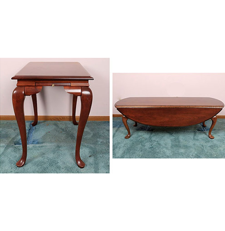 Queen Anne Style Drop Leaf Coffee Table And Side Table Ebth