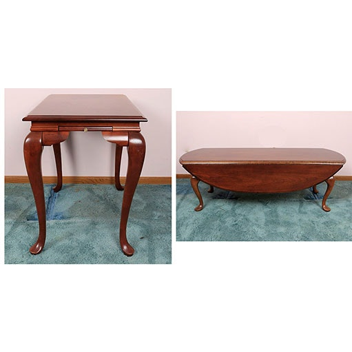 Charming Queen Anne Style Drop Leaf Coffee Table And Side Table ...