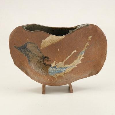 Brown and Black Earthenware Vase