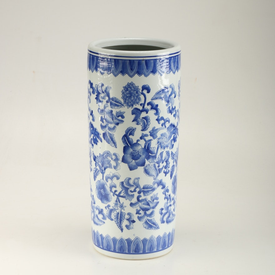 Umbrella Stand Blue And White: Hand-Painted Blue And White Chinese Porcelain Umbrella