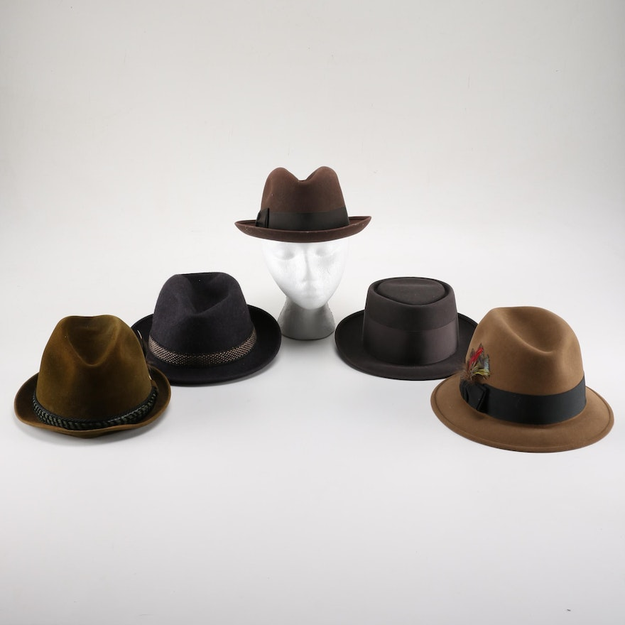 b09b4e571ab85 Collection of Fedora Type Hats With Box   EBTH