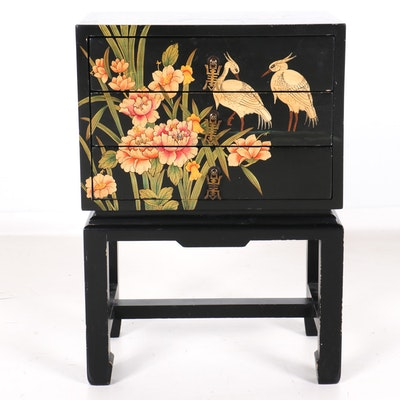 Chinoiserie Three-Drawer Chest on Stand