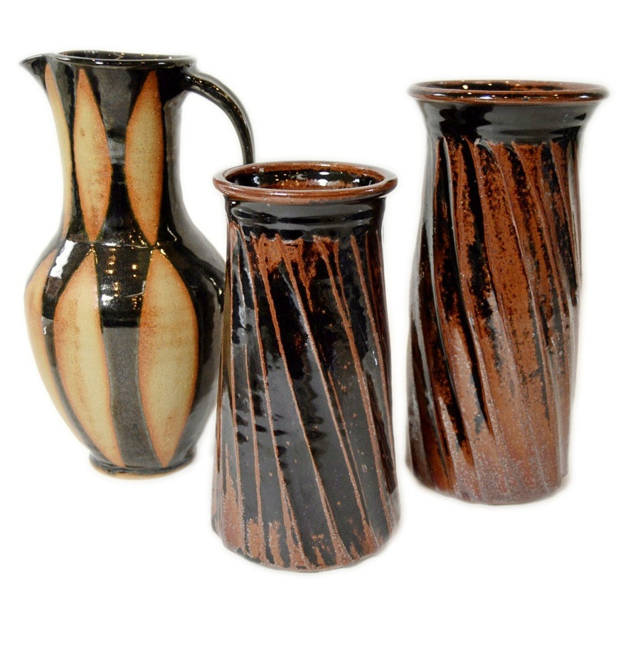 pottery vases handmade two handmade pottery vases and a pottery pitcher ebth 3105