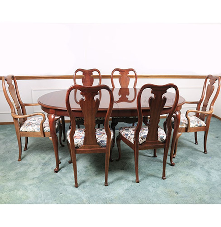 contemporary queen anne style seven piece dining set : seven piece dining set