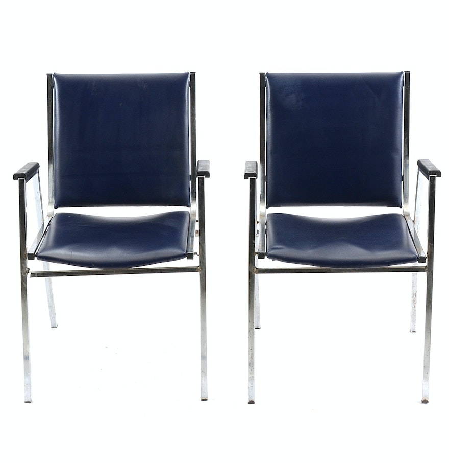 Pair Of Stackable Metal And Navy Leather Arm Chairs EBTH