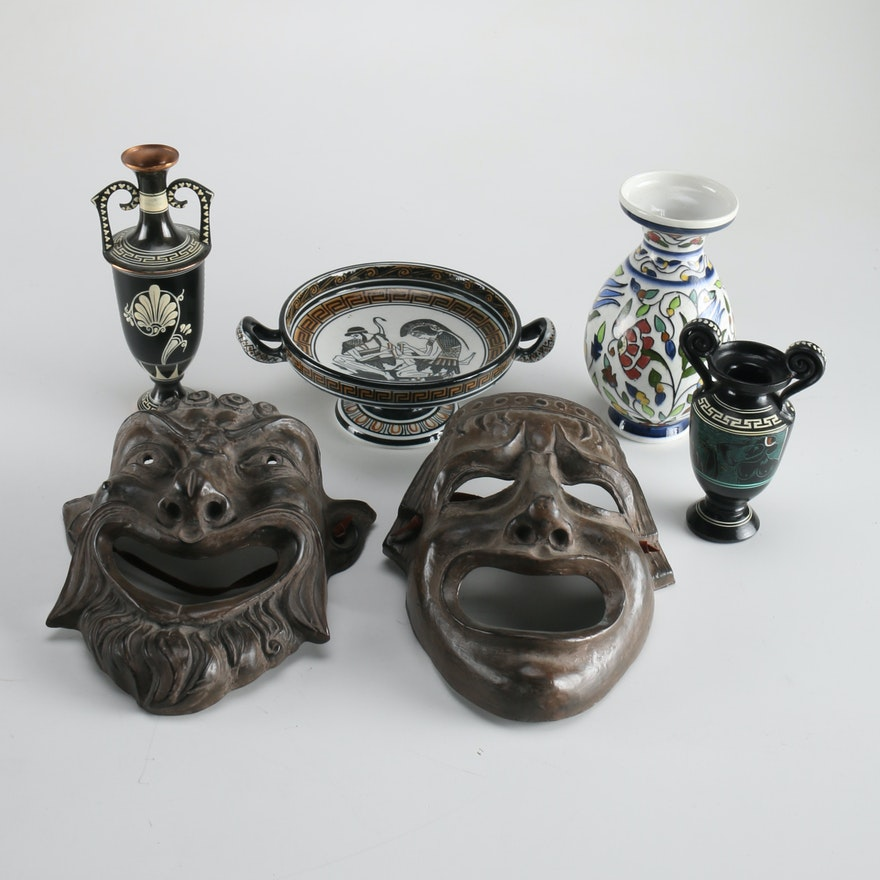 Assorted Grecian Vases Dish And Theater Decor Ebth