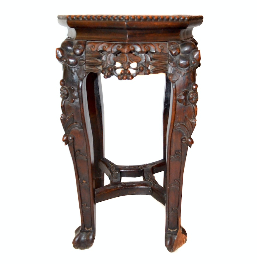 Marble And Carved Wood Accent Table: Carved Accent Table With Marble Top : EBTH