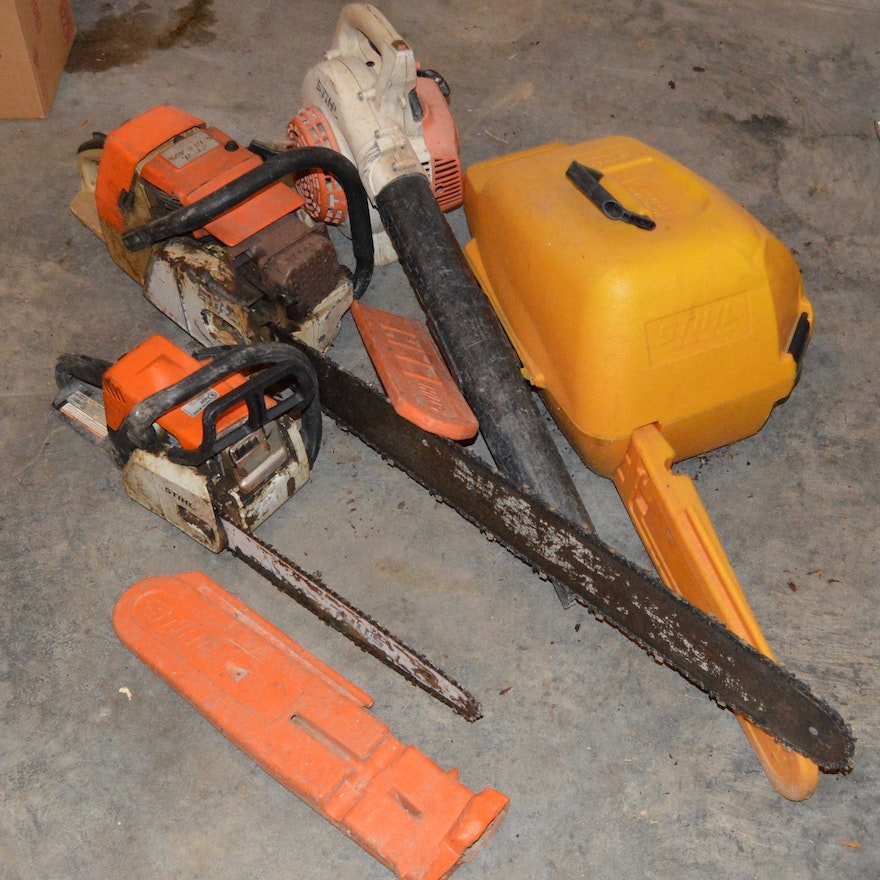 Pair of Stihl Chainsaws, Case and Leaf Blower