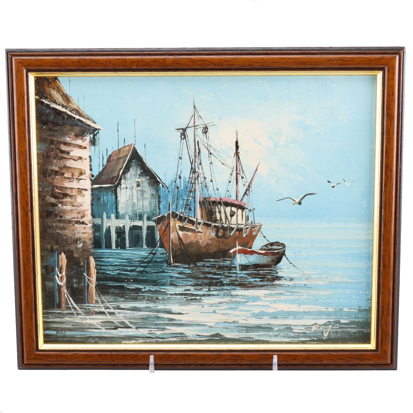 Roge Signed Original Oil Painting of a Harbor