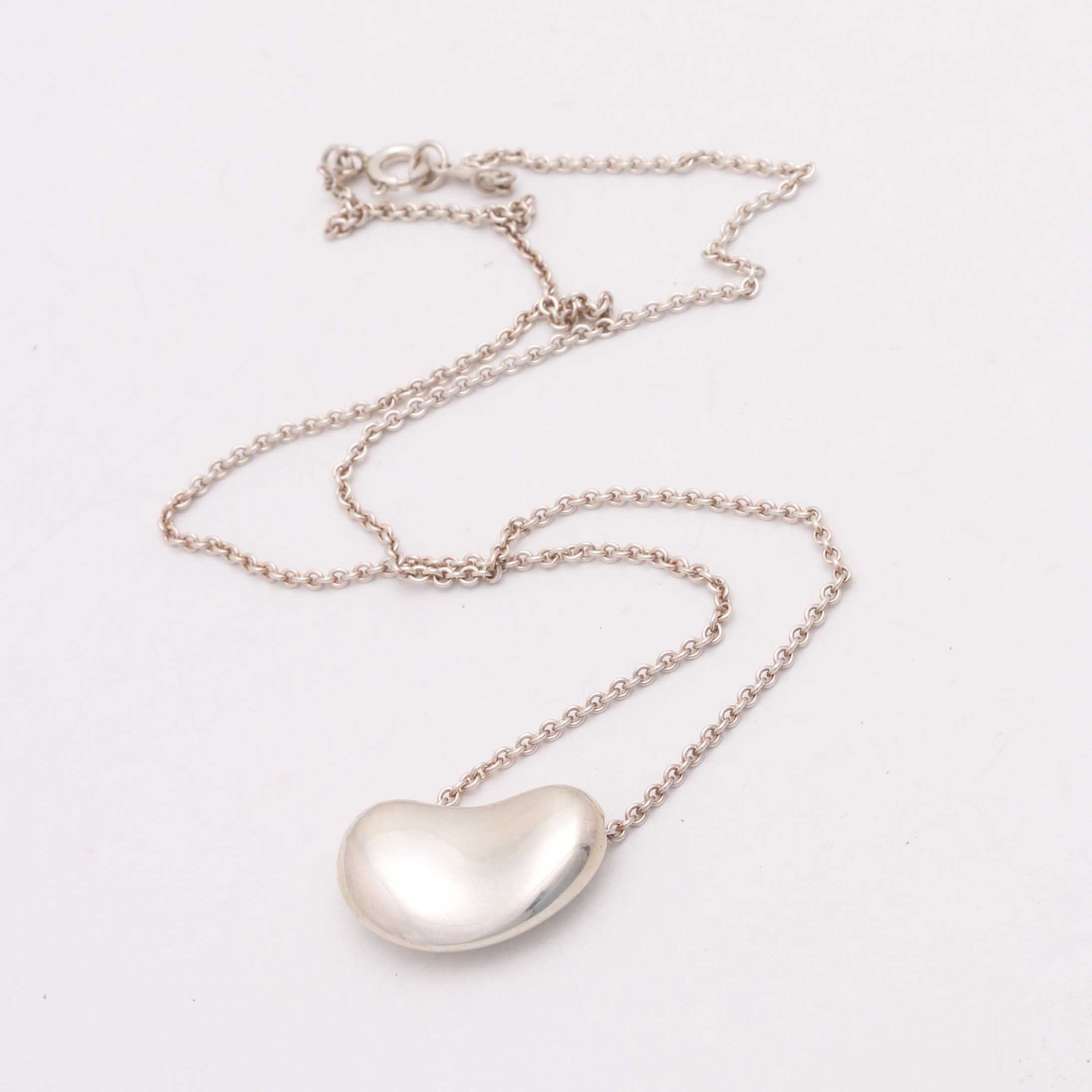 Sterling Silver Tiffany & Co. Bean Necklace by Elsa Peretti