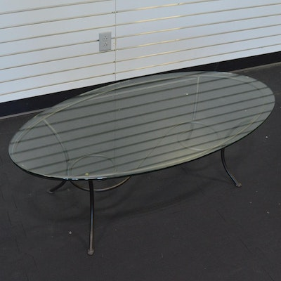 Inlaid Oval Coffee Table Ebth