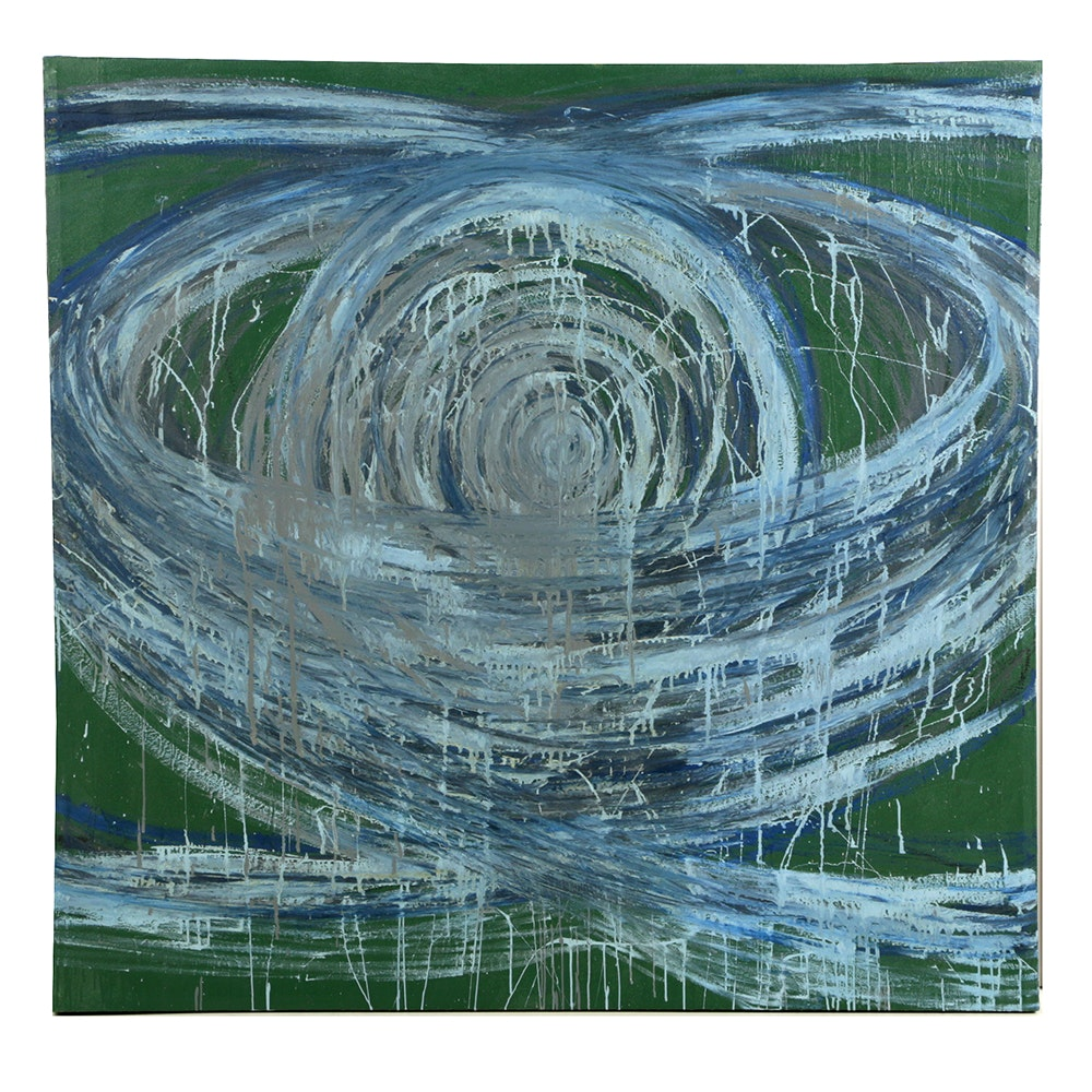 "Nicholas Barbieri Mixed Media Painting on Canvas ""Spin Disc"""