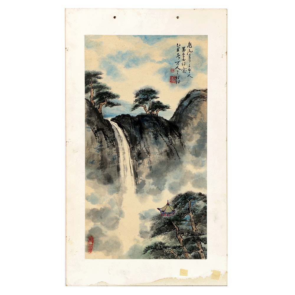 Japanese Gouache and Watercolor Painting on Rice Paper