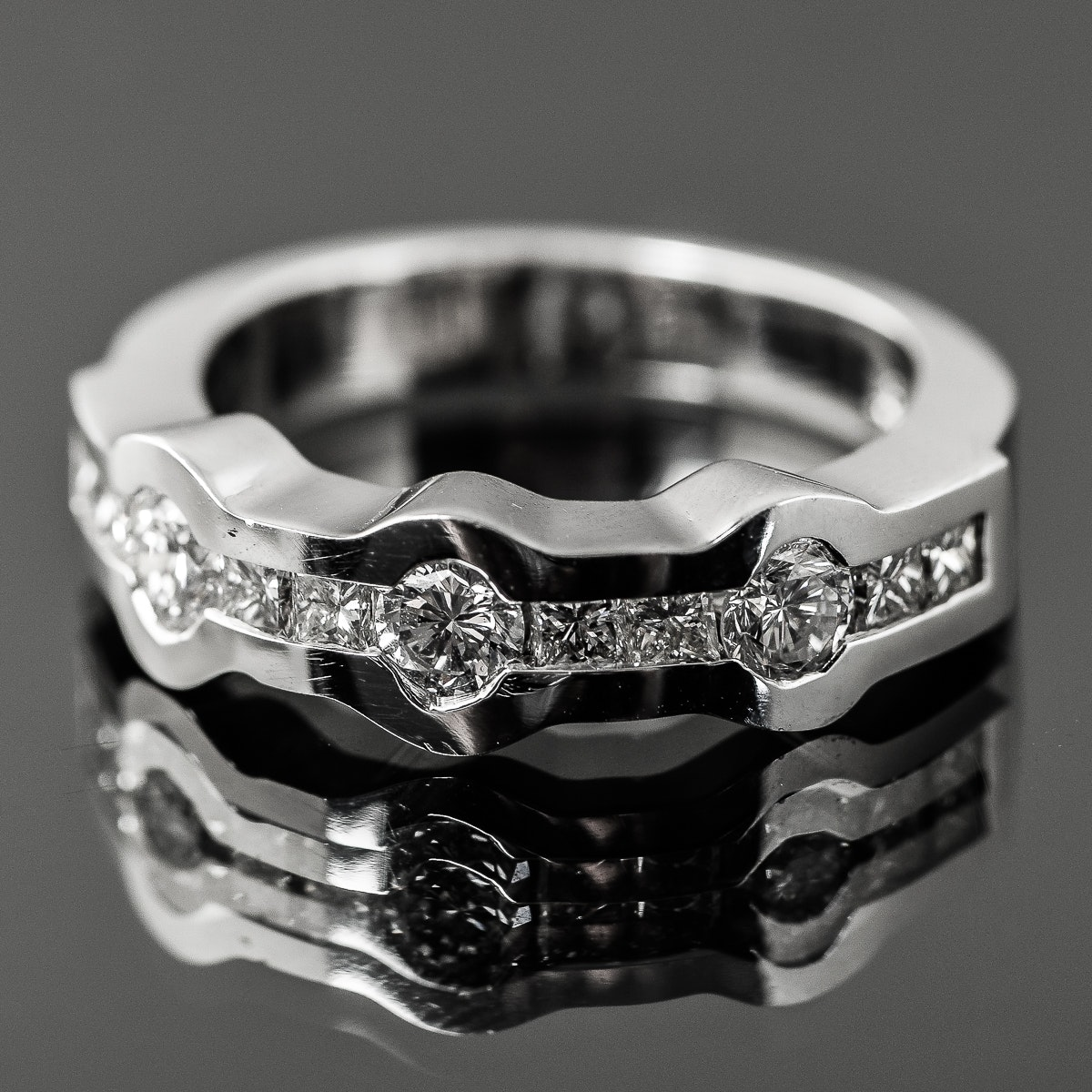 18K White Gold and 1.20 CTW Invisible Set Diamond Band