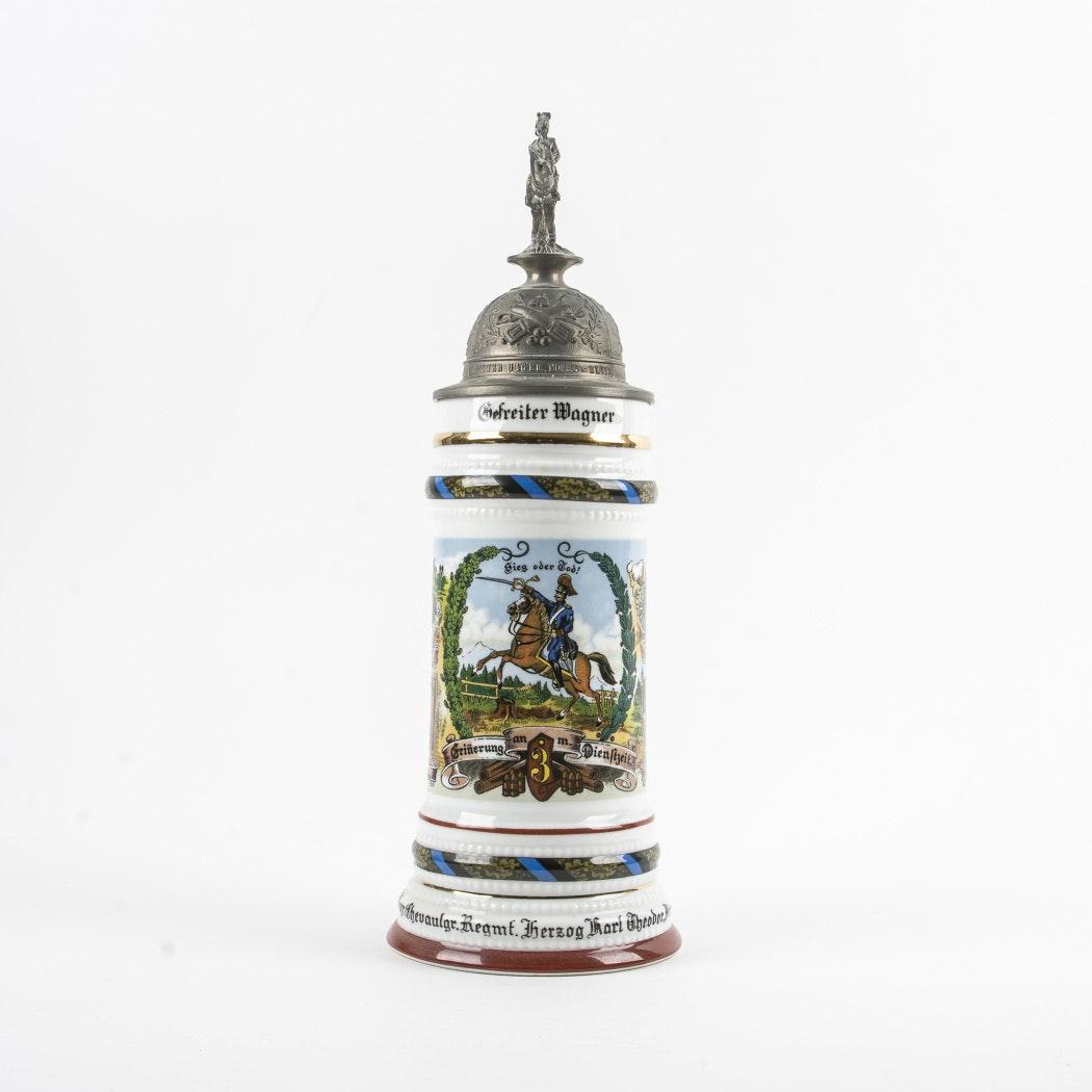 Antique Porcelain German Regimental Stein