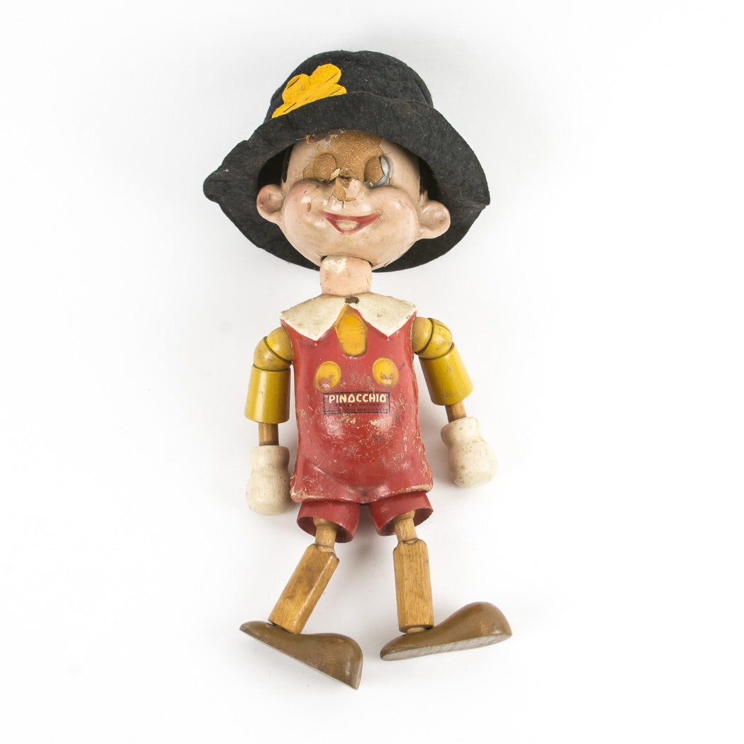 Vintage Ideal Novelty Toy Co. Pinocchio Wooden Toy