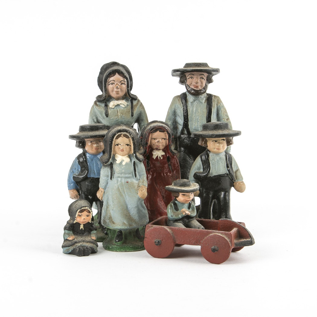 Vintage Cast Metal Amish Family Figurines