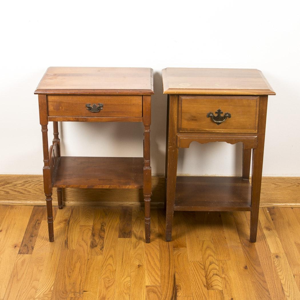 Pair of Medium Tone Wood Nightstands