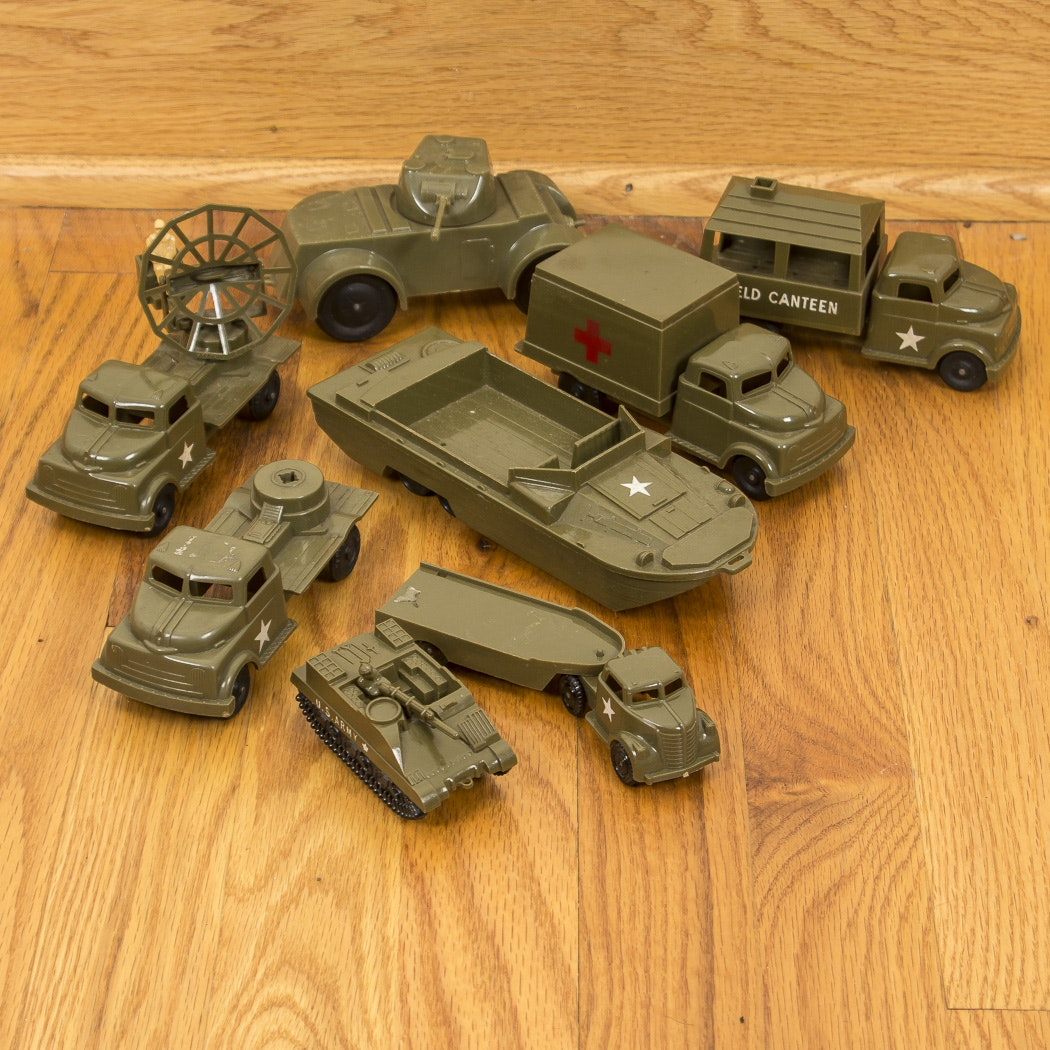 Vintage Pyro Plastic Toy Army Vehicles