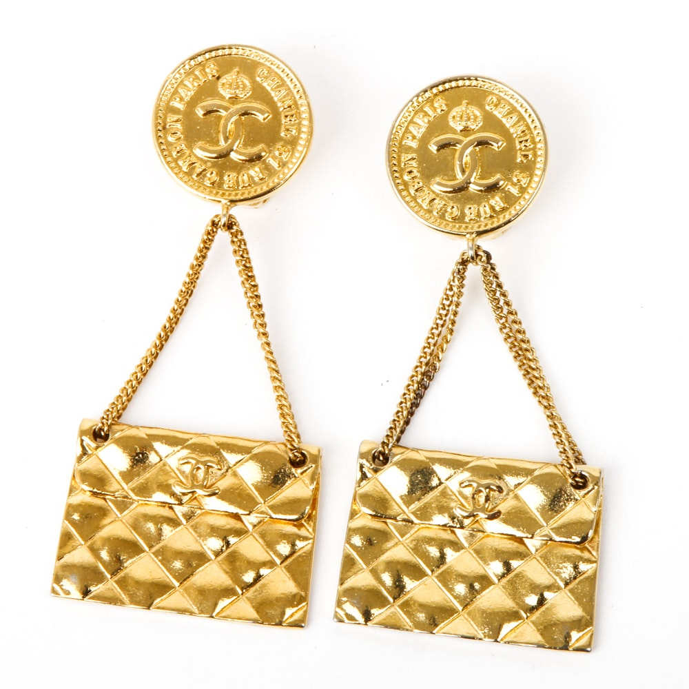 Chanel Quilted Dangle Earrings