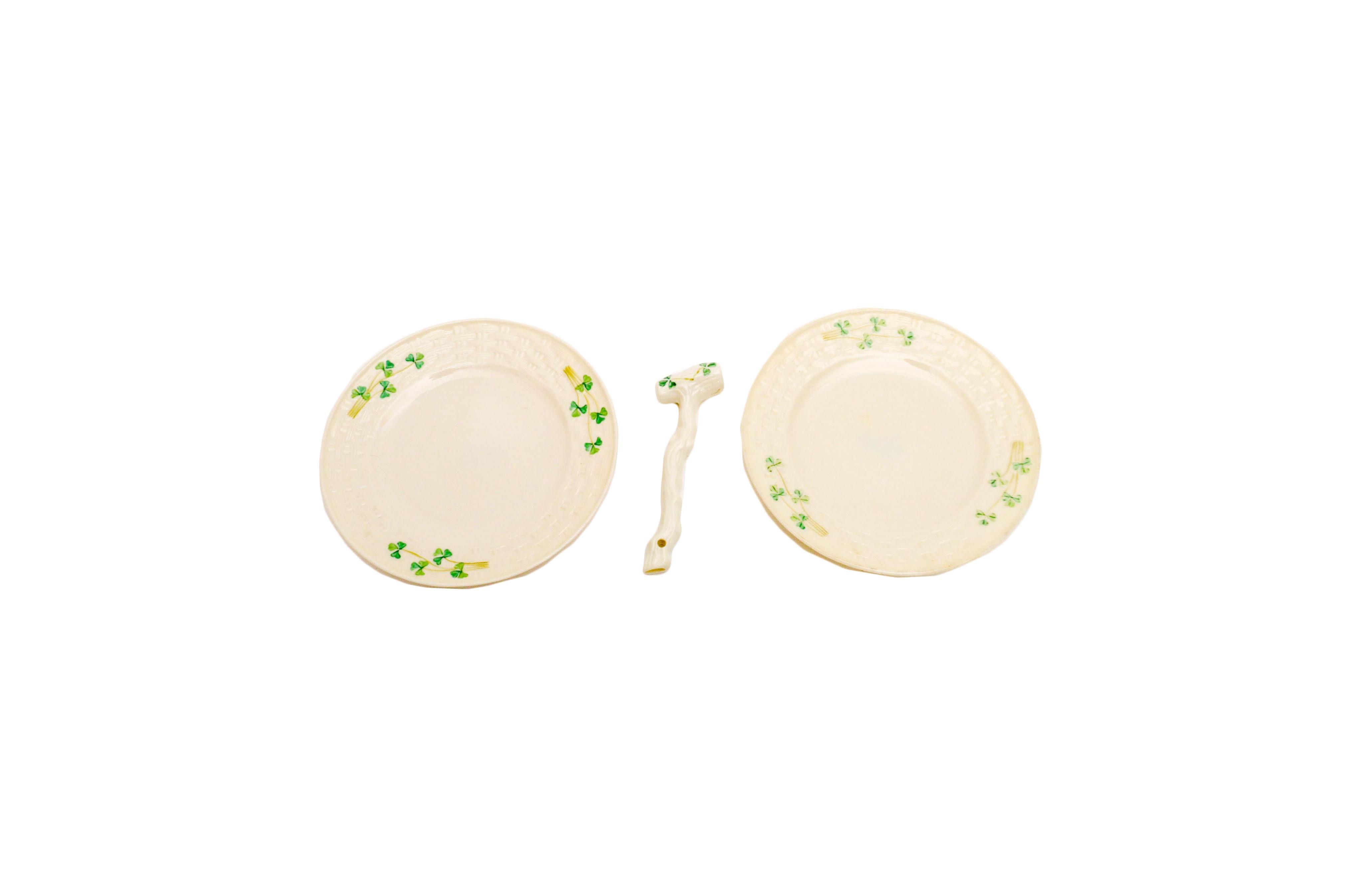 Belleek Salad Plates and Cane Ornament
