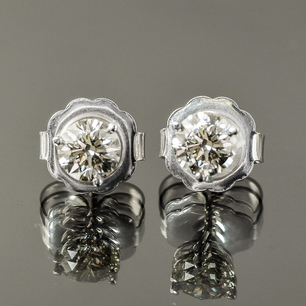14K White Gold and 1.50 CTW Diamond Solitaire Stud Earrings