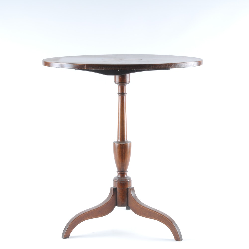 Vintage Inlay Accent Walnut Accent Table ...