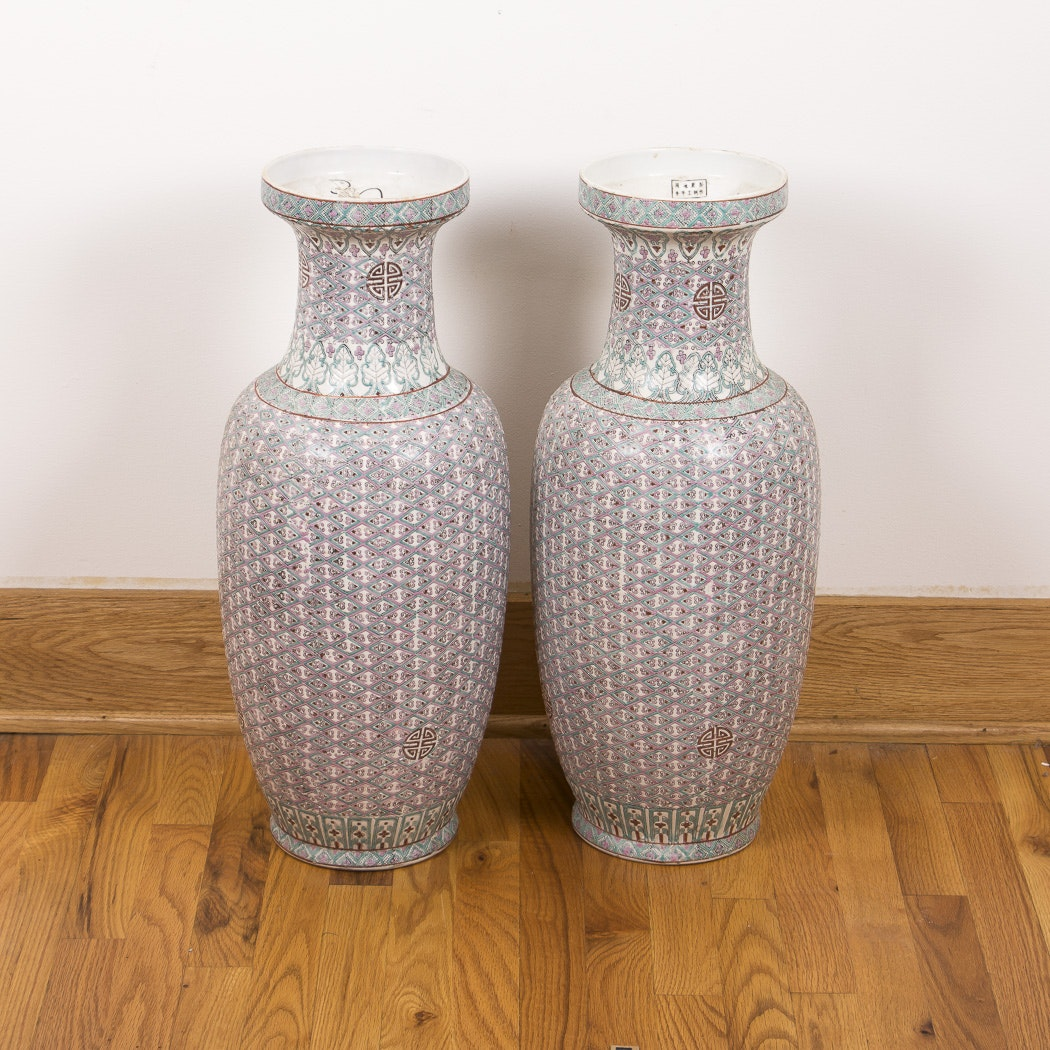 Pair of Oversized Chinese Porcelain Vases