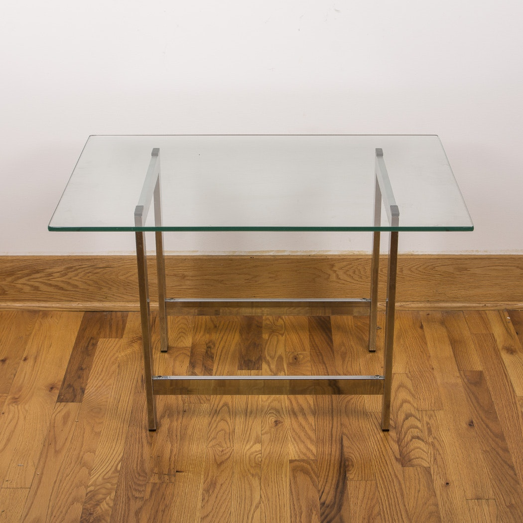 Glass Top Metal End Table