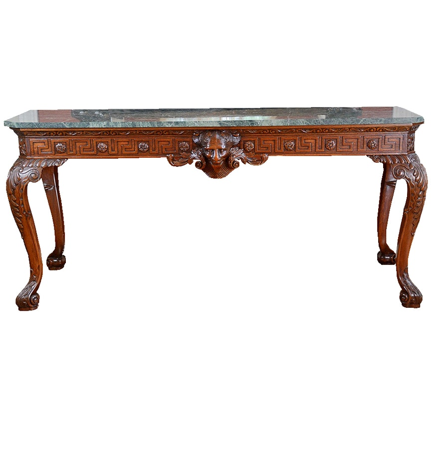 Marble top console table with ornate carved base ebth marble top console table with ornate carved base geotapseo Gallery