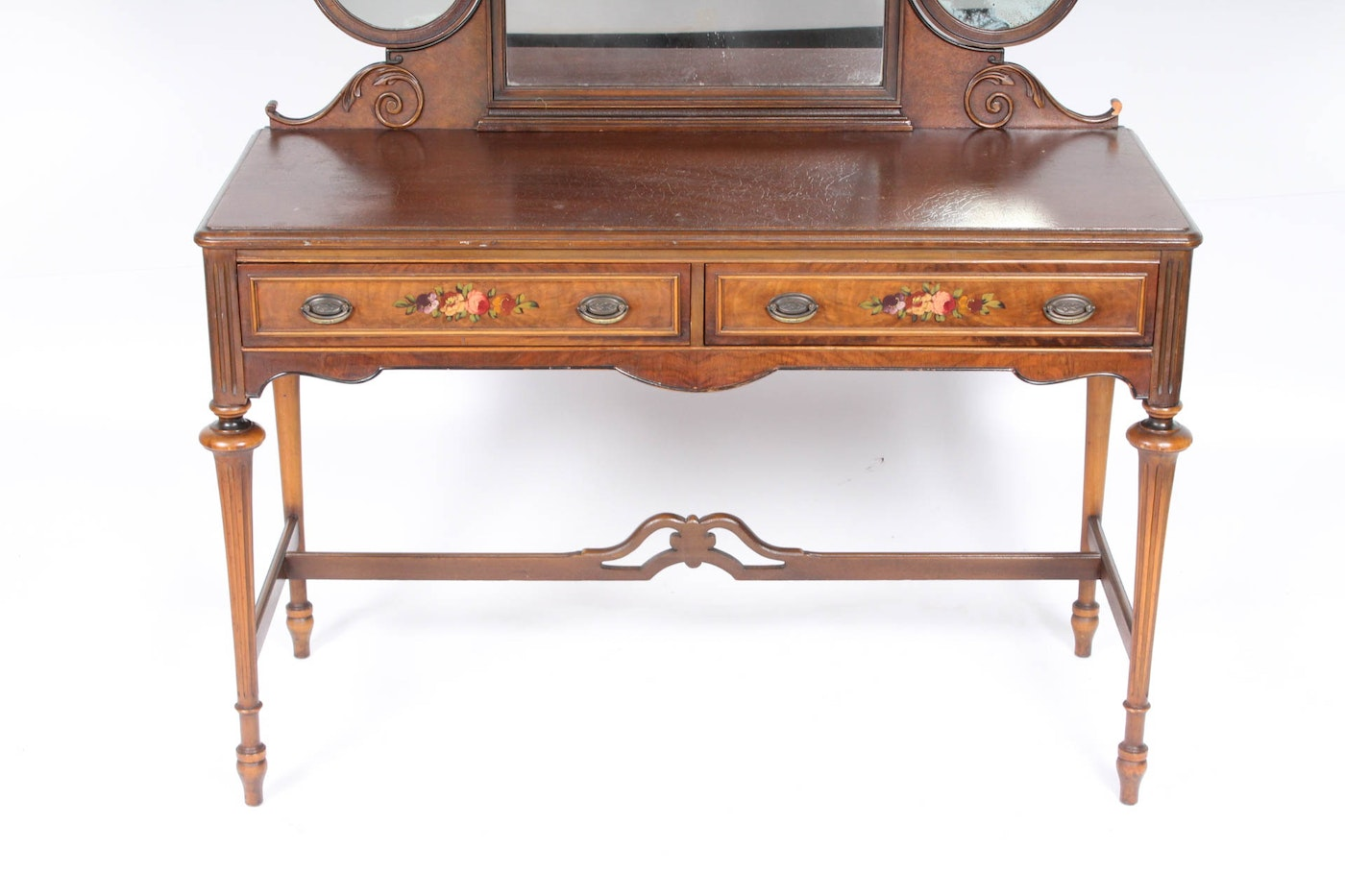 Antique Mahogany Vanity Desk With Mirrors Ebth