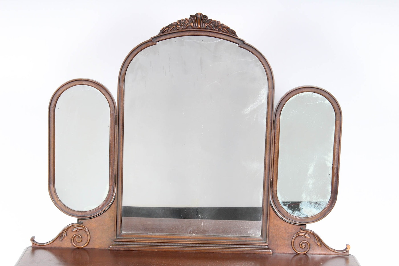 Antique mahogany vanity desk with mirrors ebth for Mirror 34 productions