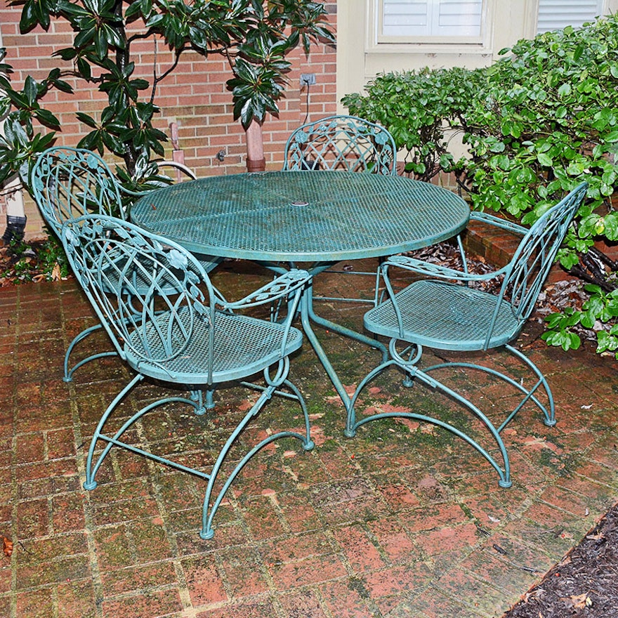 Hunter Green Wrought Iron Patio Set Ebth