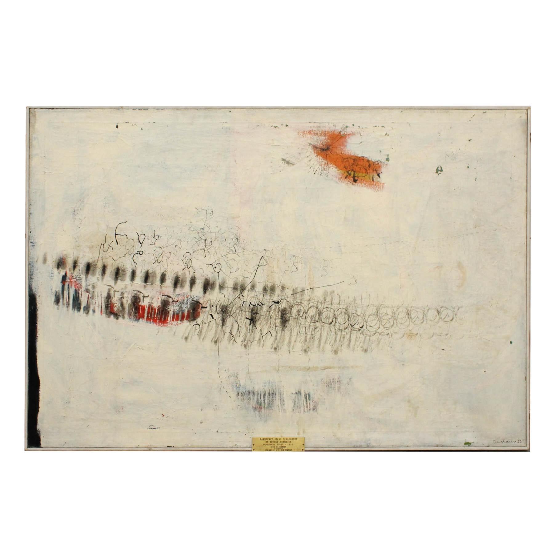 "Arthur Dashaies ""Landscape Signs Throughout' Original Oil Painting on Canvas"