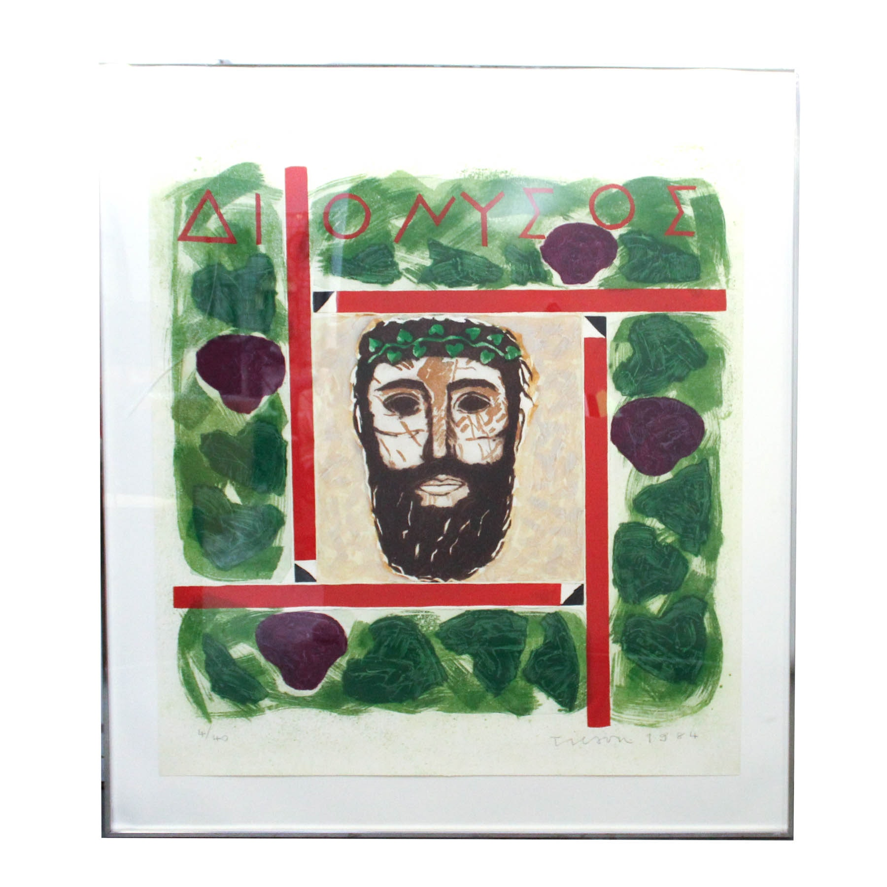 """Joe Tilson """"Mask of Dionysus"""" Limited Edition Etching With Aquatint"""