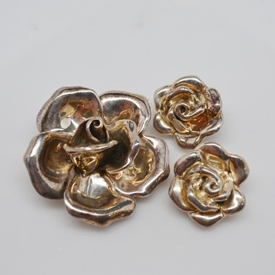 Sterling Silver Rose Brooch and Clip Earring Set