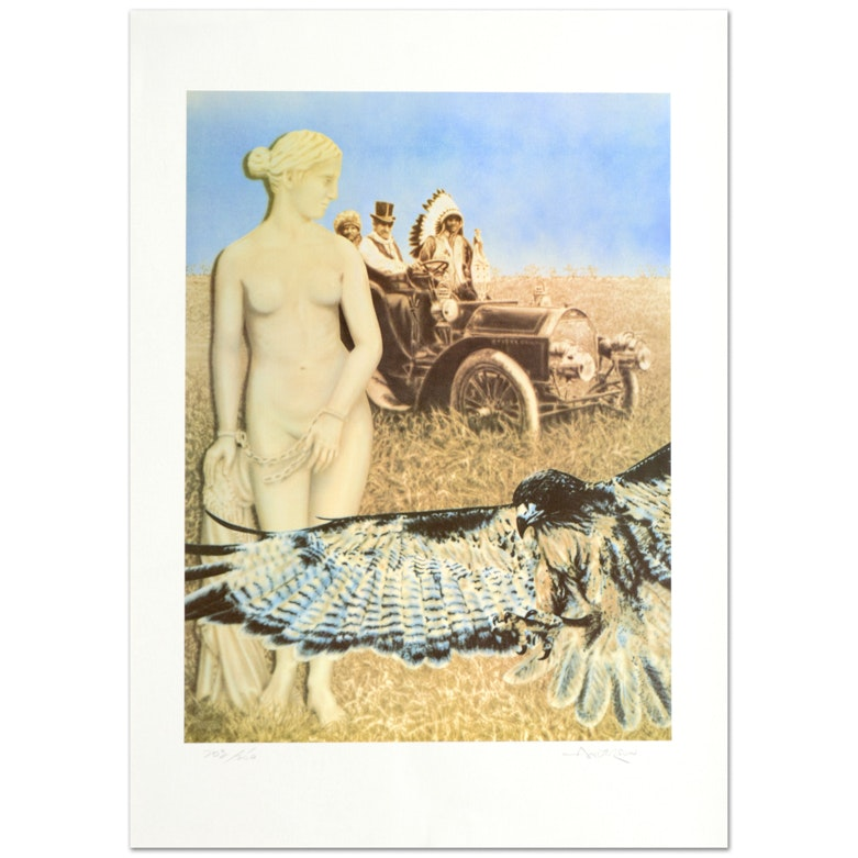 """Robert Anderson Signed Limited Edition Lithograph on Paper """"Hopelessly Watching"""""""