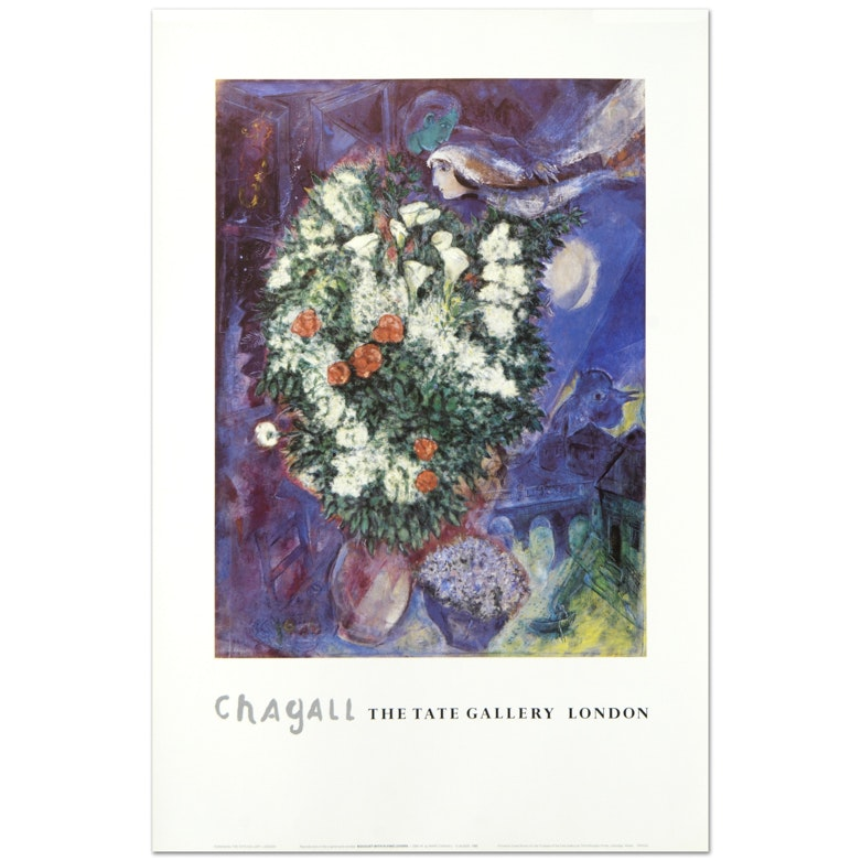 "Marc Chagall ""Bouquet with Flying Lover"" Fine Art Poster"